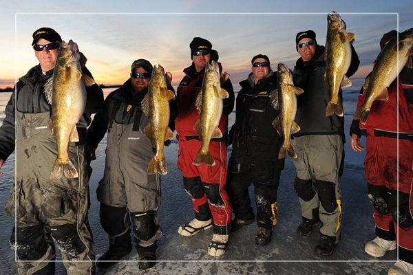 ice fish green bay group of guys with walleyes
