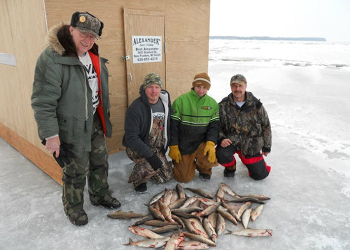white fish caught ice fishing in door county