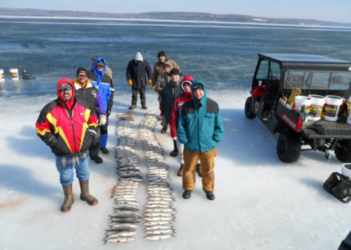 white fish on the ice sturgeon bay