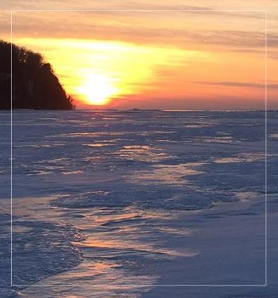 ice fish green bay sunset